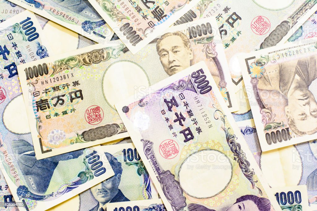 Success and got profit from business with Japanese currency background and texture stock photo