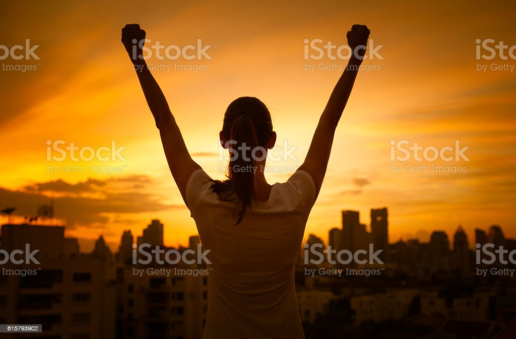 Success and life achievement concept stock photo