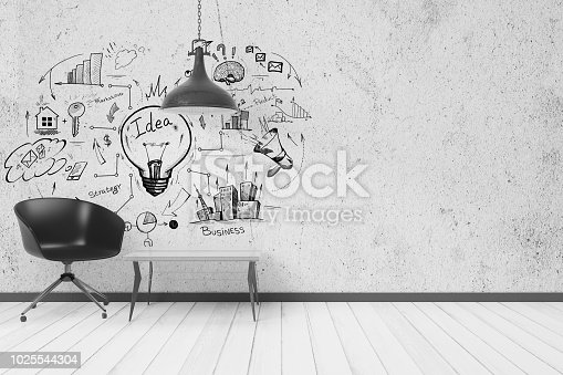 Modern interior with furniture and creative business sketch on wall. Success and solution concept. 3D Rendering