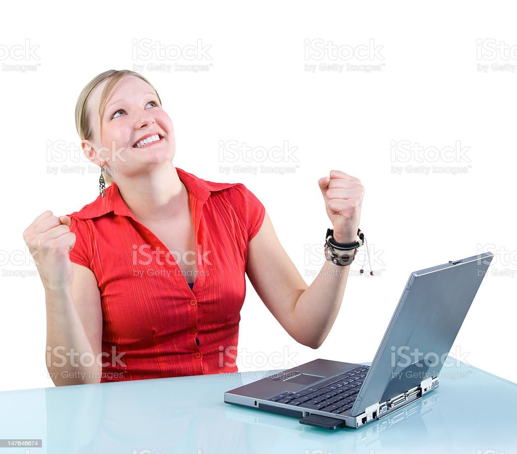 Success! Attractive Businesswoman with Laptop stock photo