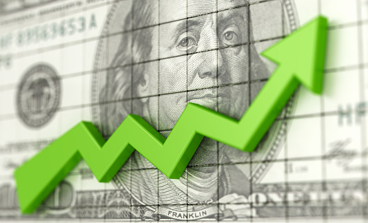 Success business chart with green arrow up and USA dollars background. Profit and money. Financial and business graph. Stock market growth 3d illustration.