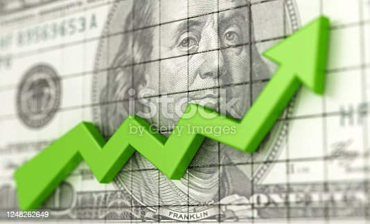 486678786 istock photo Success business chart with green arrow up and USA dollars background. Profit and money. Financial and business graph. Stock market growth 3d illustration. 1248262649