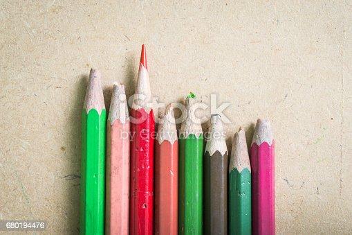 istock Success concept, A sharp color pencil and blunt color pencils. 680194476
