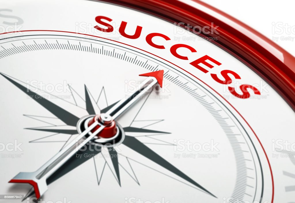 Success Concept: Arrow of A Compass Pointing Success Text stock photo
