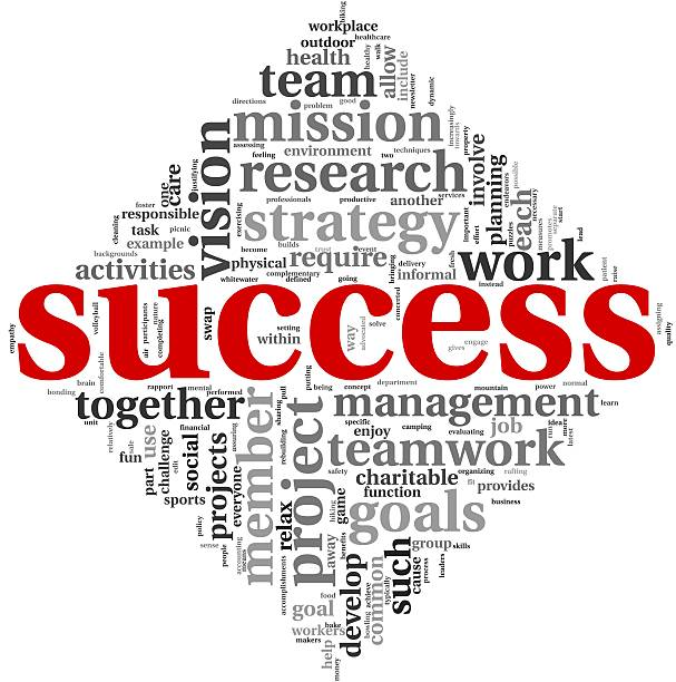 Success concept in tag cloud stock photo