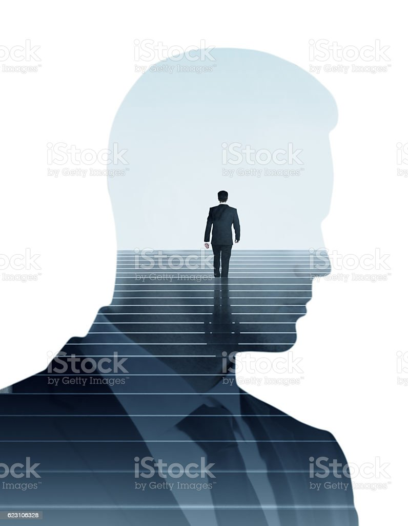 Success concept multiexposure stock photo