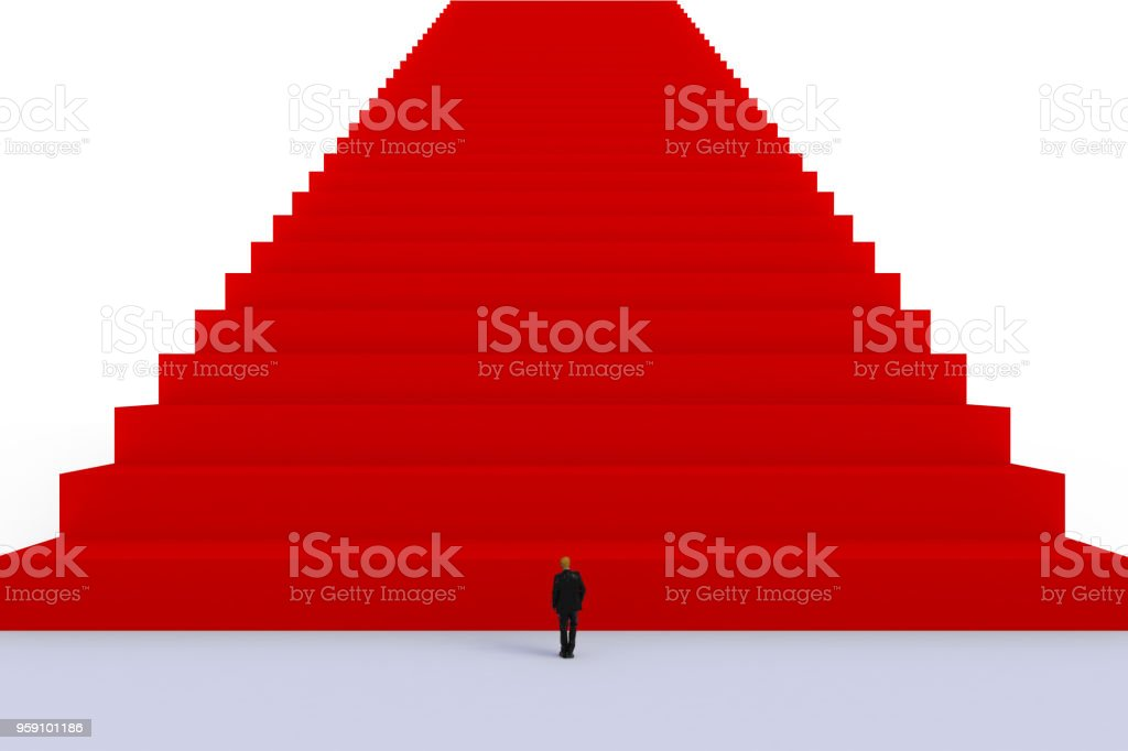 Success concept with businessman, Image of miniature businessman standing in front of red stair on white wall background stock photo