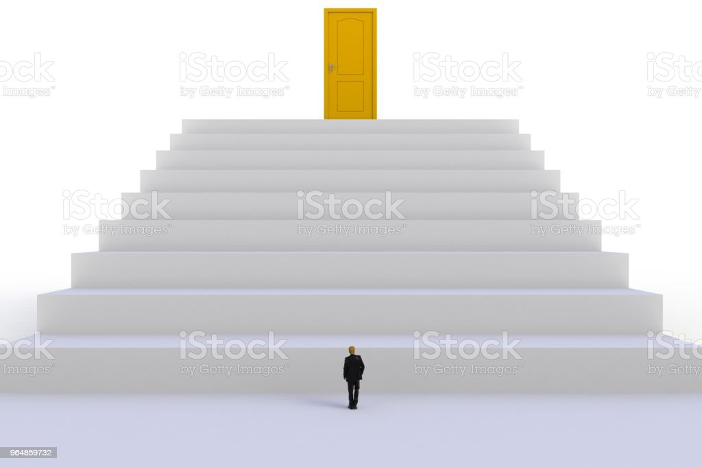 Success concept with businessman, Image of miniature businessman standing in front of yellow door on white wall background, 3D rendering royalty-free stock photo