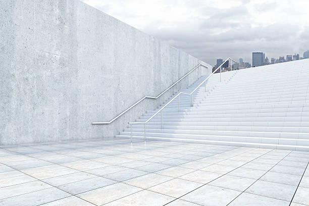 success concept with concrete stairs - treppe außen stock-fotos und bilder