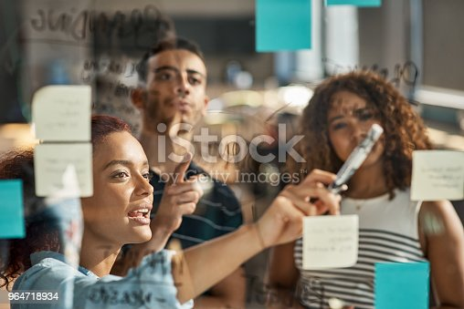Shot of a group of young designers brainstorming with notes on a glass wall in an office