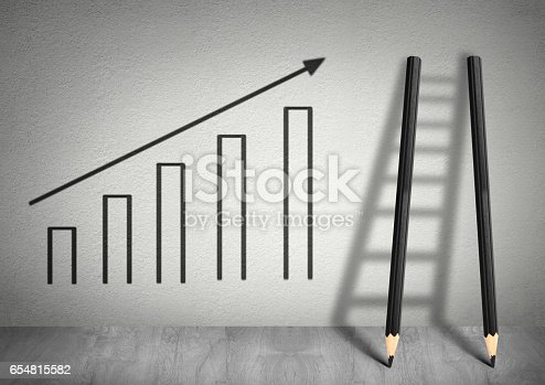 istock success creative concept, Ladder from pencils 654815582