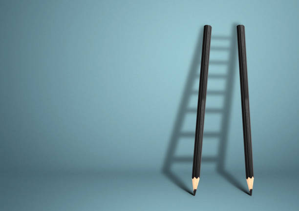 success creative concept, pencil Ladder stock photo