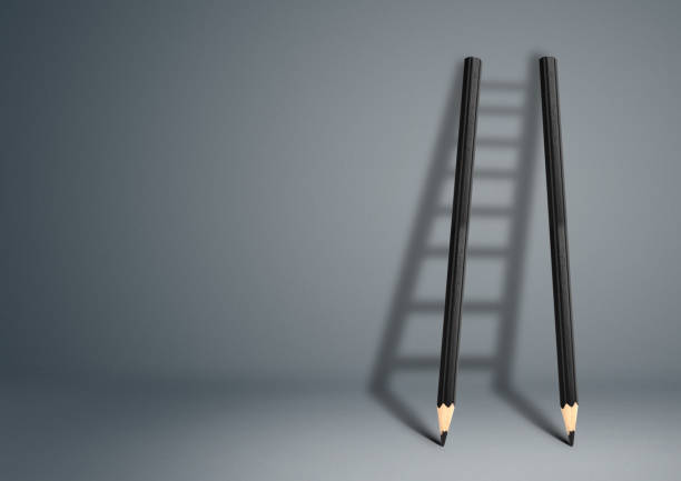 success creative concept, pencil ladder - opportunity stock photos and pictures