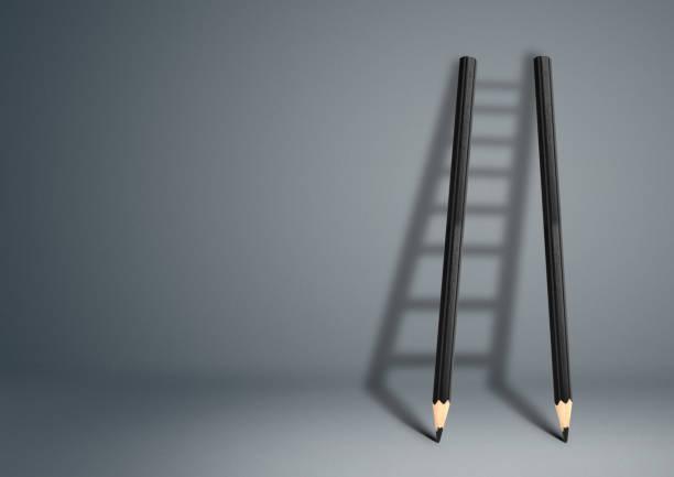 concept créatif de succès, échelle au crayon - Photo