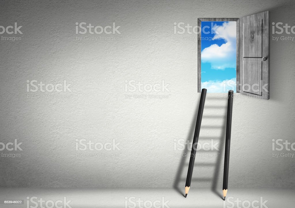 success creative concept, stairs from pencils to door stock photo