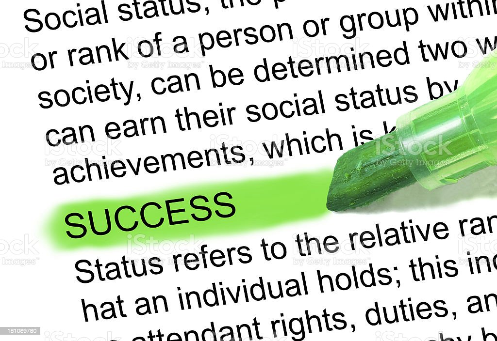 success definition word marked green in dictionary stock photo