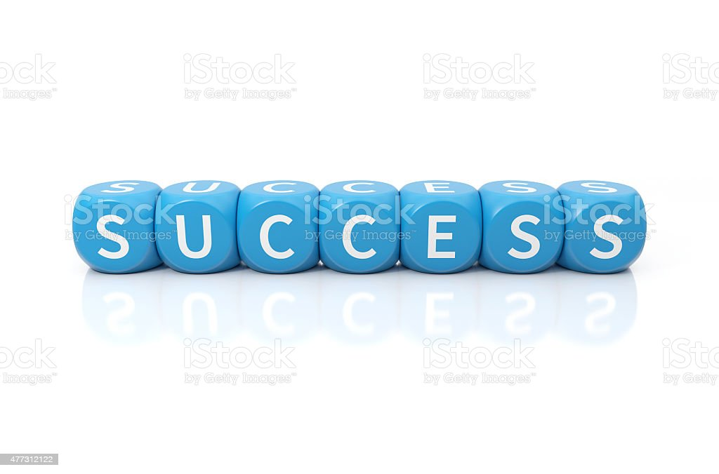 Success dices blue stock photo