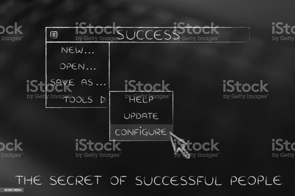 success dropdown menu, pointer selecting the Configure option stock photo