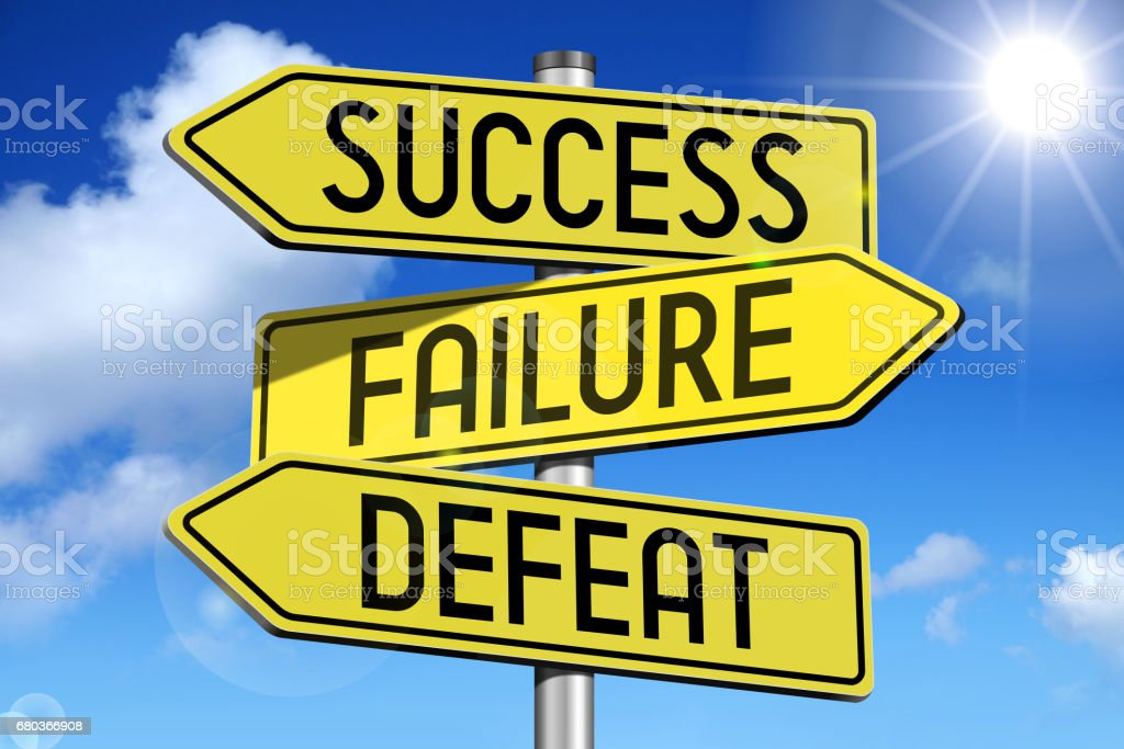 Success, failure, defeat - yellow roadsign royalty-free stock photo