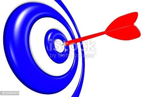 istock 3D success, goal - darts concept. 512401474