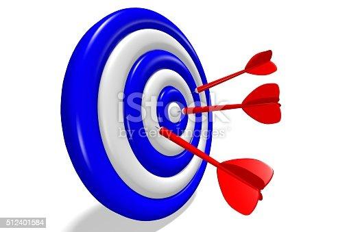 istock 3D success, goal - darts concept. 512401584