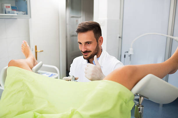 Success gynecologist examination stock photo