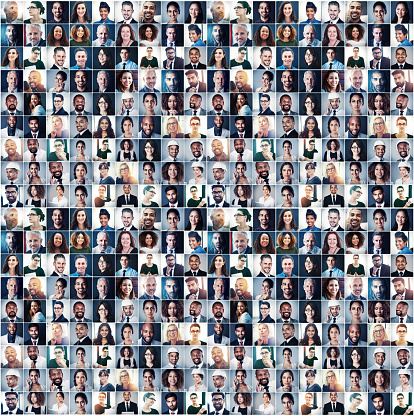 Composite portrait of a group of diverse businesspeople