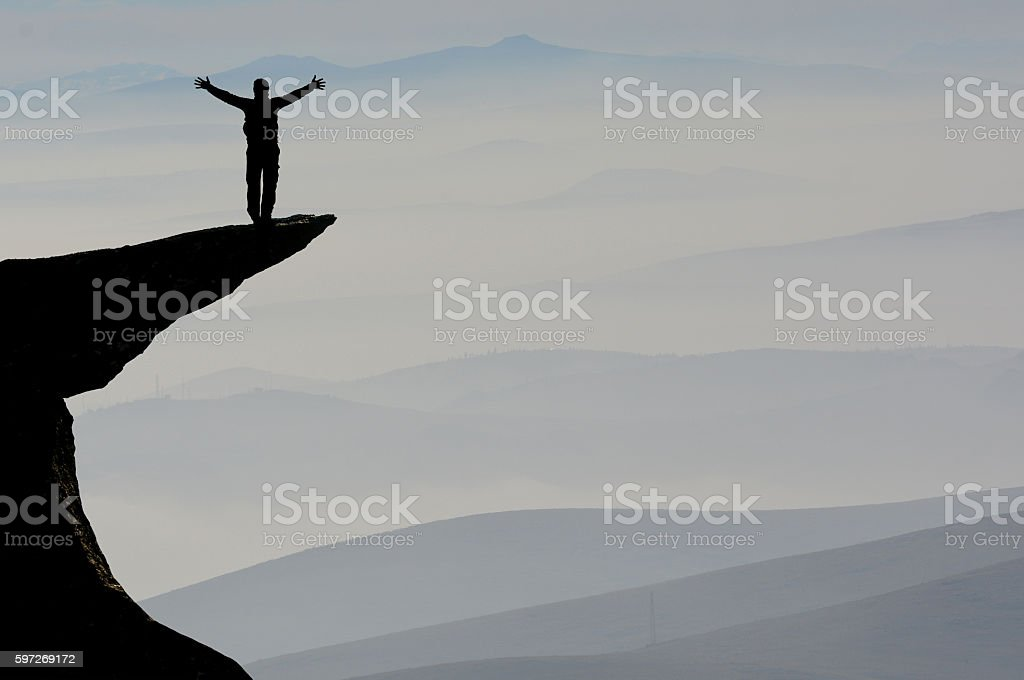 success in the mountain summit royalty-free stock photo