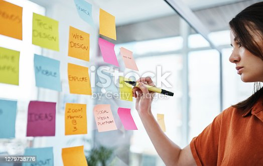 Shot of a young businesswoman having a brainstorming session in a modern office