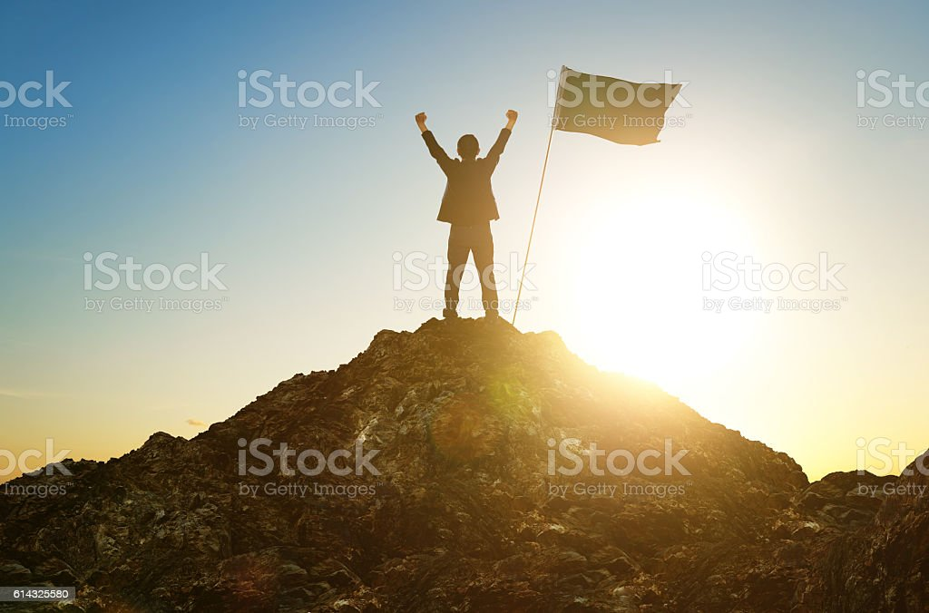 success, leadership, achievement and people concept stock photo