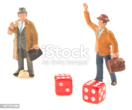 Two business man with red cubes