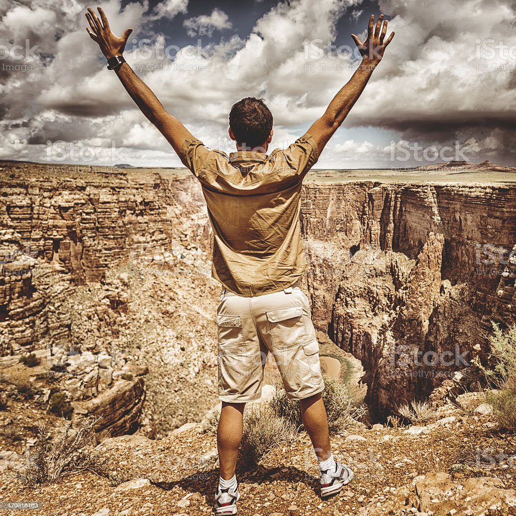 success man on top of mountain royalty-free stock photo