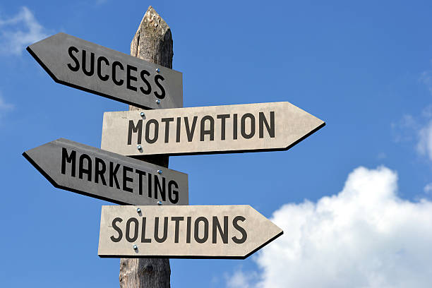 Success, motivation, marketing, solutions signpost stock photo