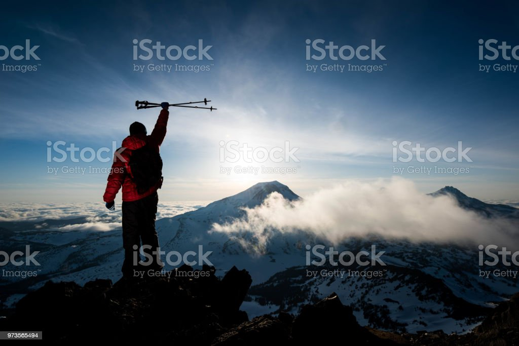 Success on a peak of discovery stock photo