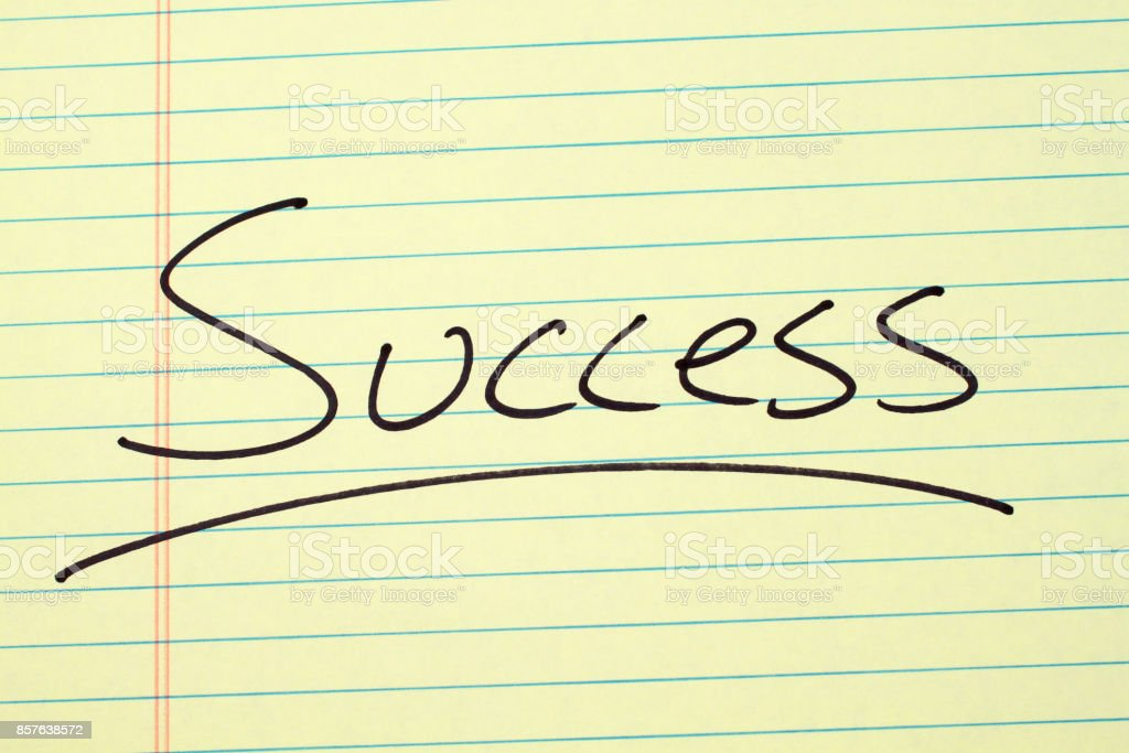 Success On A Yellow Legal Pad stock photo