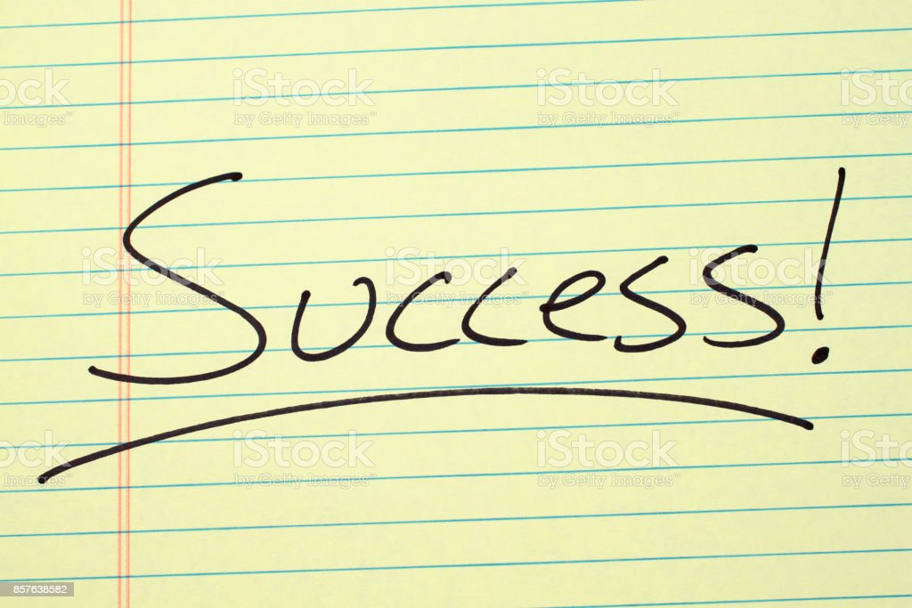 Success! On A Yellow Legal Pad stock photo