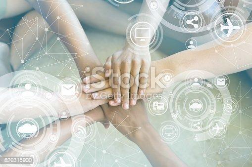 istock Success Partnership Business Partners Team meeting Successful Teamwork Hands Gesture. Hands stack group of people. Partnership Business Concept.Close-Up hands, Teamwork.selective focus. 826315900