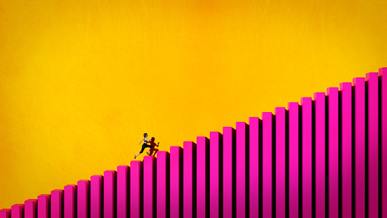 3D illustration of a girl running up a bar graph. Success concept.