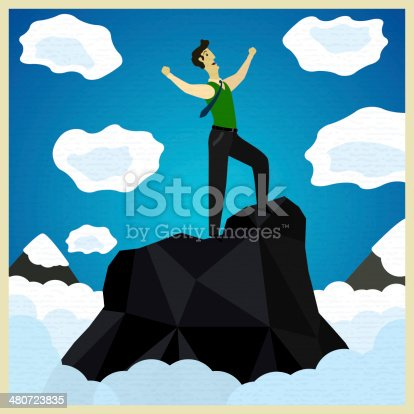 happy businessman standing on the mountain