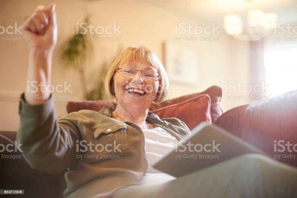 Success playing bingo online stock photo