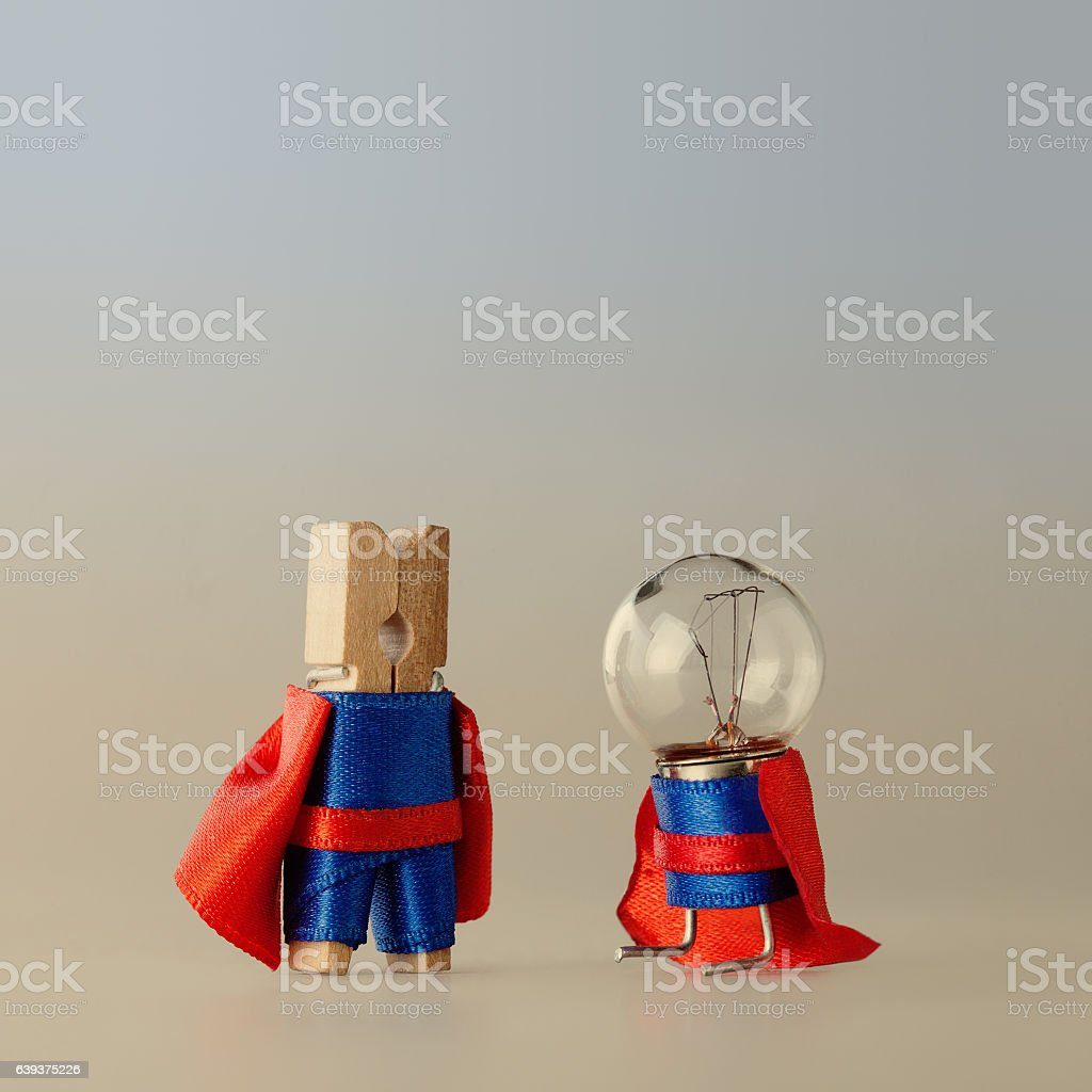 Success project managment concept and super team template. Clothespin peg stock photo