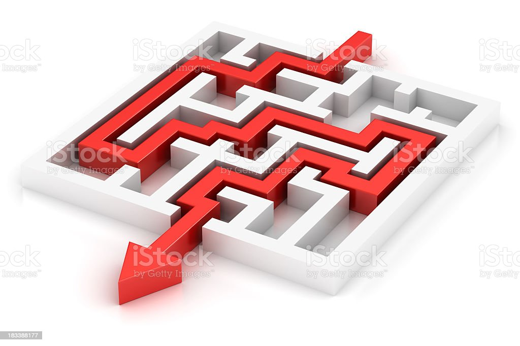 Success red arrow in labyrinth royalty-free stock photo