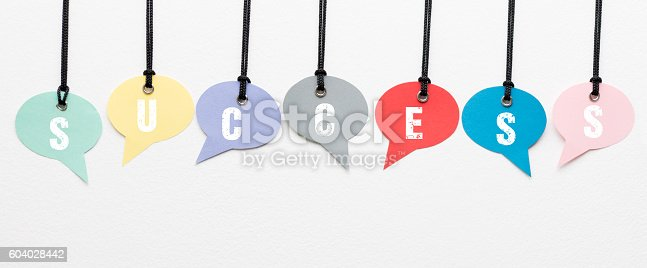 881845218istockphoto Success speech bubbles 604028442