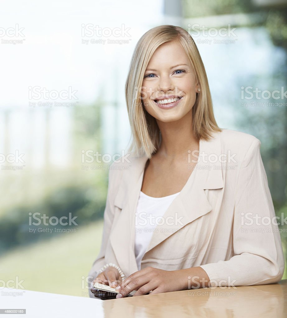 Success starts with a smile stock photo