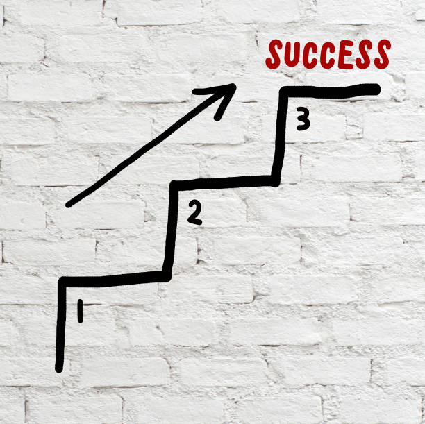 success steps, business concept, abstract background - number 3 stock photos and pictures