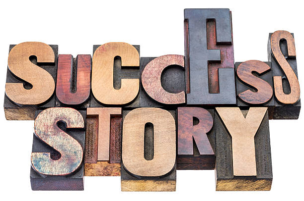 success story wood type typography - testimonial stock photos and pictures