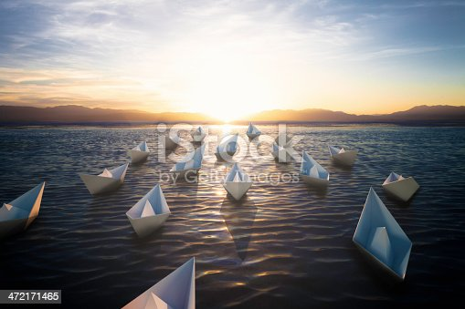 Paper boat sailing to the sun.The map  form my portfolio.3D rending high quality.