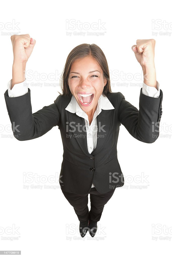 Success / winner business woman cheering full length isolated royalty-free stock photo
