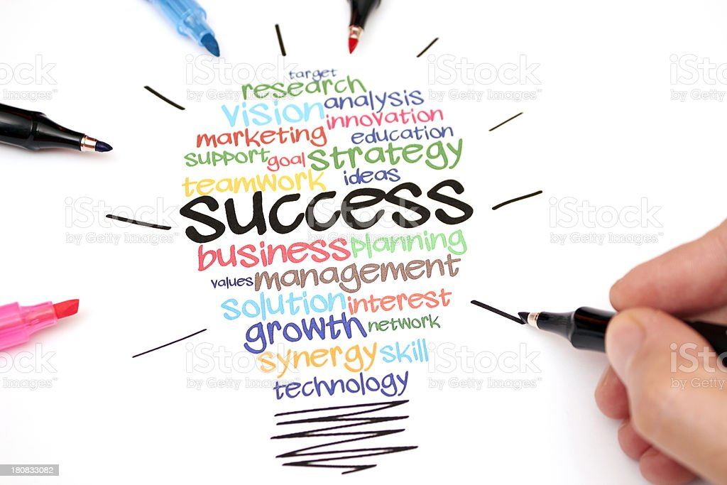 Success wordcloud in a light bulb shape royalty-free stock photo
