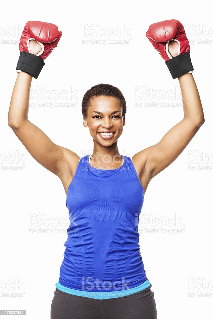 Successful African American Female Boxer - Isolated stock photo